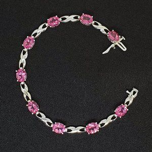 Pink Sapphire & 14k White Gold Bracelet